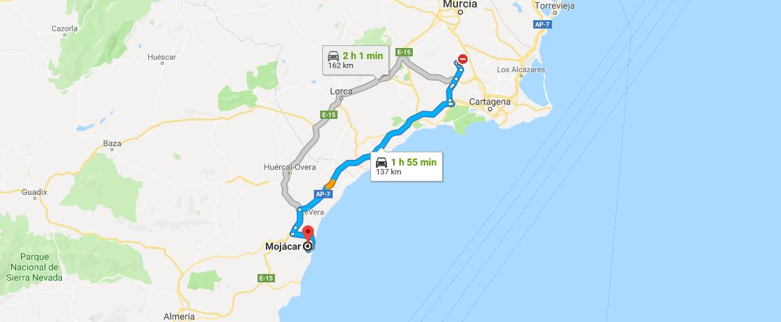 Mojacar Spain Map.Getting To Mojacar From Corvera Airport Corvera Airport Travel