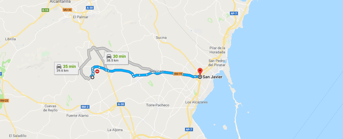 Getting to San Javier from Corvera Murcia Airport | Corvera