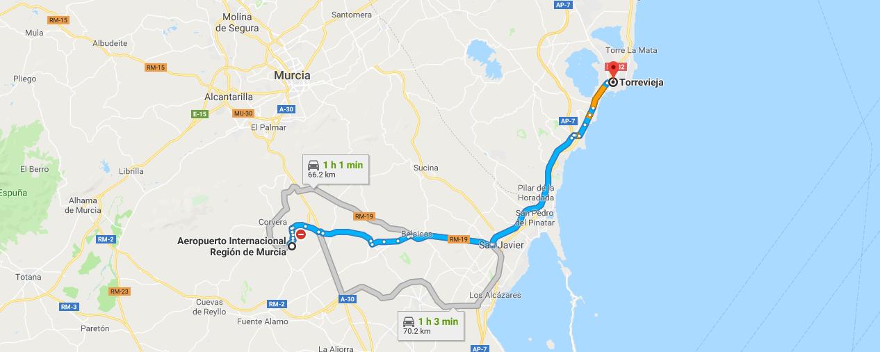 Map Of Spain Near Murcia.Getting To Torrevieja From Corvera Airport Corvera Airport Travel