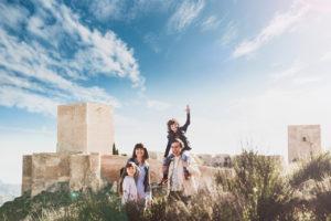 Family enjoying castle visit
