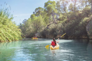 Kayaking on the river in Murcia region