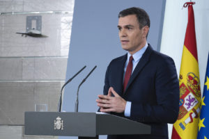 Spanish prime minister at press conference