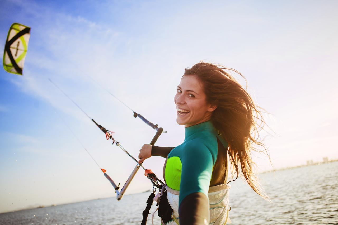 Woman kitesurfing in Murcia