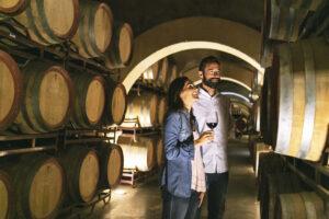 Couple drinking wine in bodega